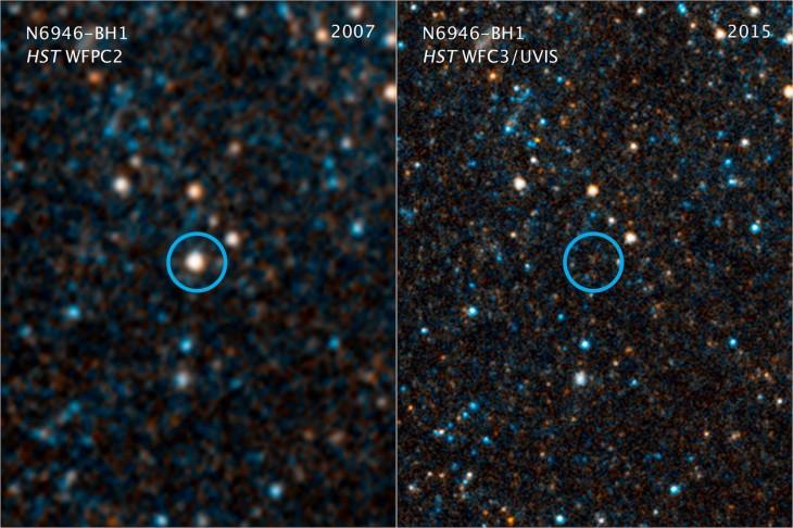 Połączone zdjęcie wzakresie widzialnym ipodczerwonym. Kółkiem oznaczono gwiazdę N6946-BH1. Polewej obraz zroku 2007, apoprawej z2015.