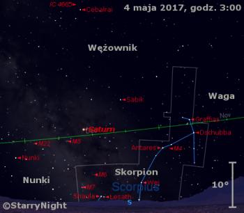 Położenie Saturna w pierwszym tygodniu maja 2017 r.