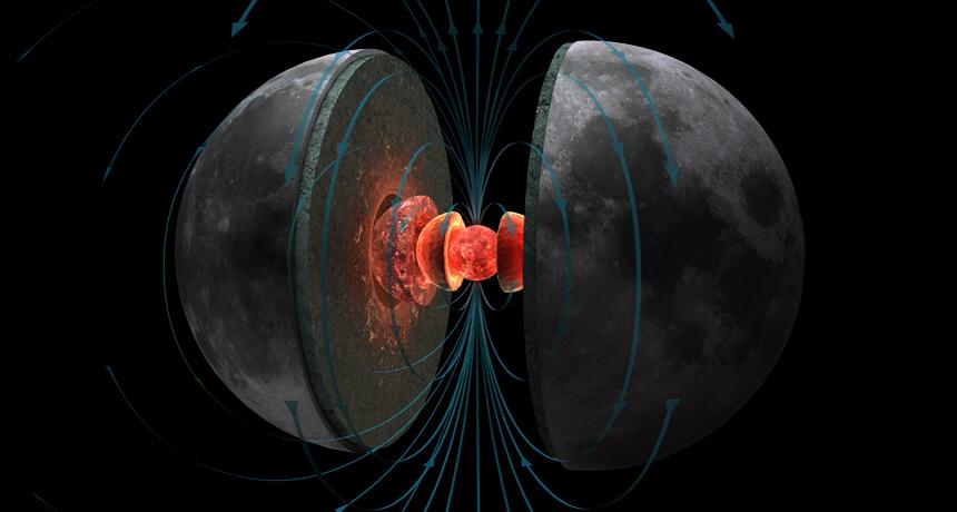 """Dawny Księżyc generował silne pole magnetyczne przez miliony lat. Na ilustracji czerwone i pomarańczowe kule reprezentują gorące jądro Księżyca, a niebieskie linie przedstawiają przebieg linii pola magnetycznego generowanego przez """"księżycowe dynamo"""" miliardy lat temu."""