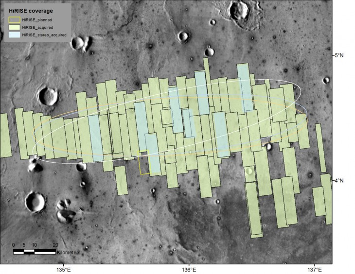 Ta mapka pokazuje obszary sfotografowane przez kamerę HiRISE. Głębsza analiza tych obszarów jest potrzebna, bo jest to teren, na którym ma wylądować lądownik InSight.