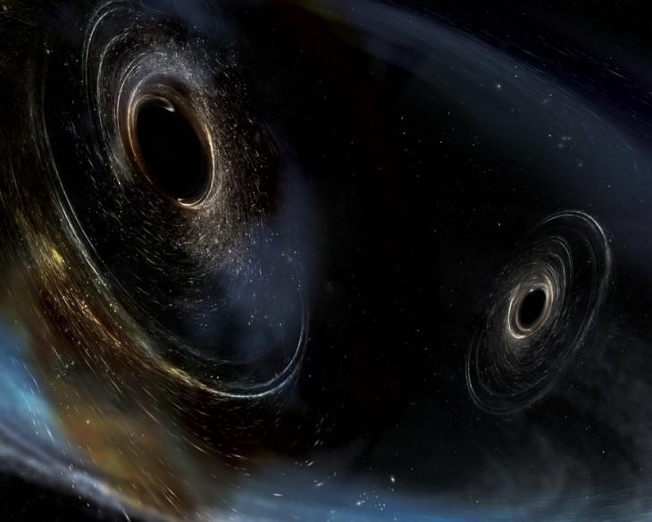 Wizja artystyczna czarnych dziur przed zderzeniem