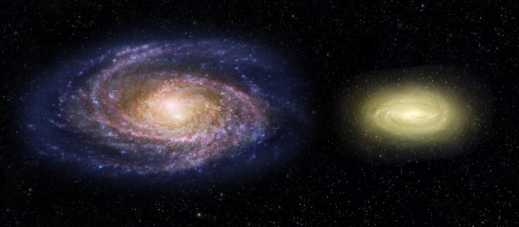 Porównanie młodej, martwej galaktyki MACS2129-1 (po prawej) z Drogą Mleczną. Mimo, że aż 3 razy masywniejsza, ma 2 razy mniejsze rozmiary. Przez to MACS2129-1 obraca się ponad 2 razy szybciej. Kolor żółty wynika z obecności gwiazd starszej populacji i braku narodzin gwiazd młodych. Wizja artysty.