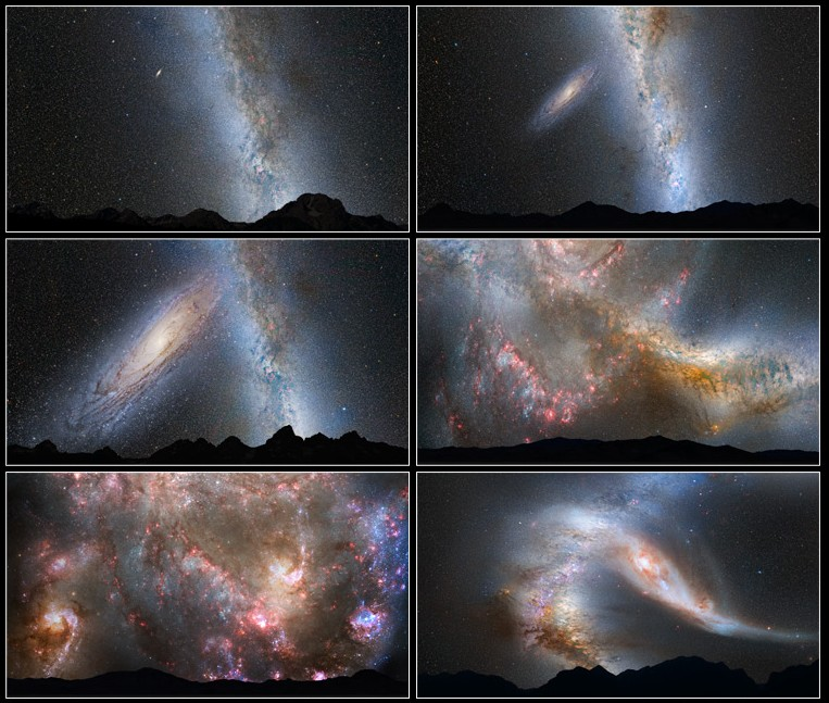Kolejne etapy kolizji Drogi Mlecznej i Andromedy.