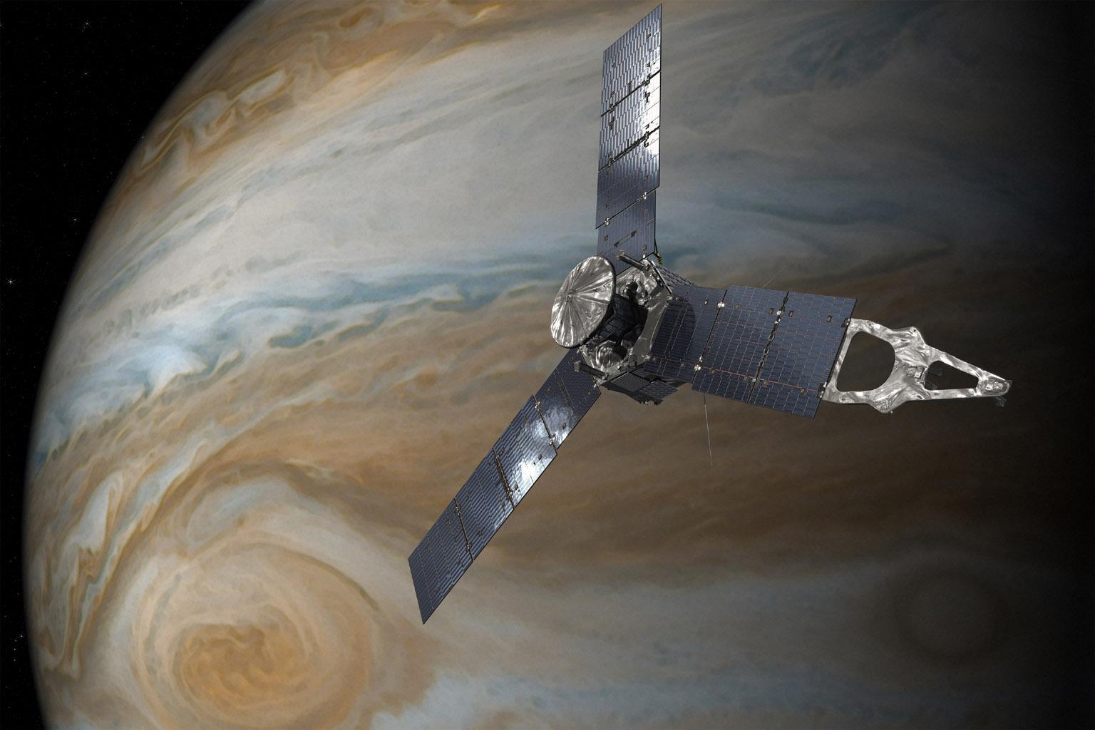 Przelot Juno nadWielką Czerwoną Plamą.
