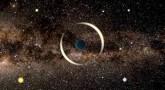 Mikrosoczewkowanie grawitacyjne przez planetę swobodną – wizja artystyczna.