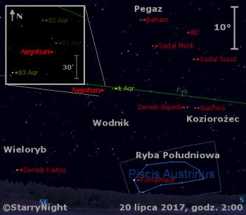 Położenie Neptuna w trzecim tygodniu lipca 2017 r.