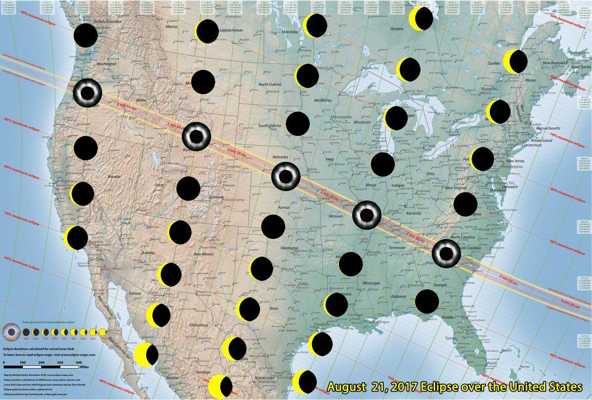 Mapa ukazująca przebieg całkowitego zaćmienia Słońca dla obserwatorów znajdujących się naterenie Ameryki Północnej.