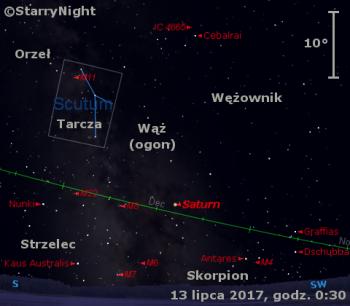 Położenie Saturna w drugim tygodniu lipca 2017 r.