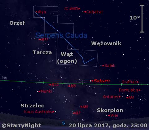 Położenie Saturna w trzecim tygodniu lipca 2017 r.