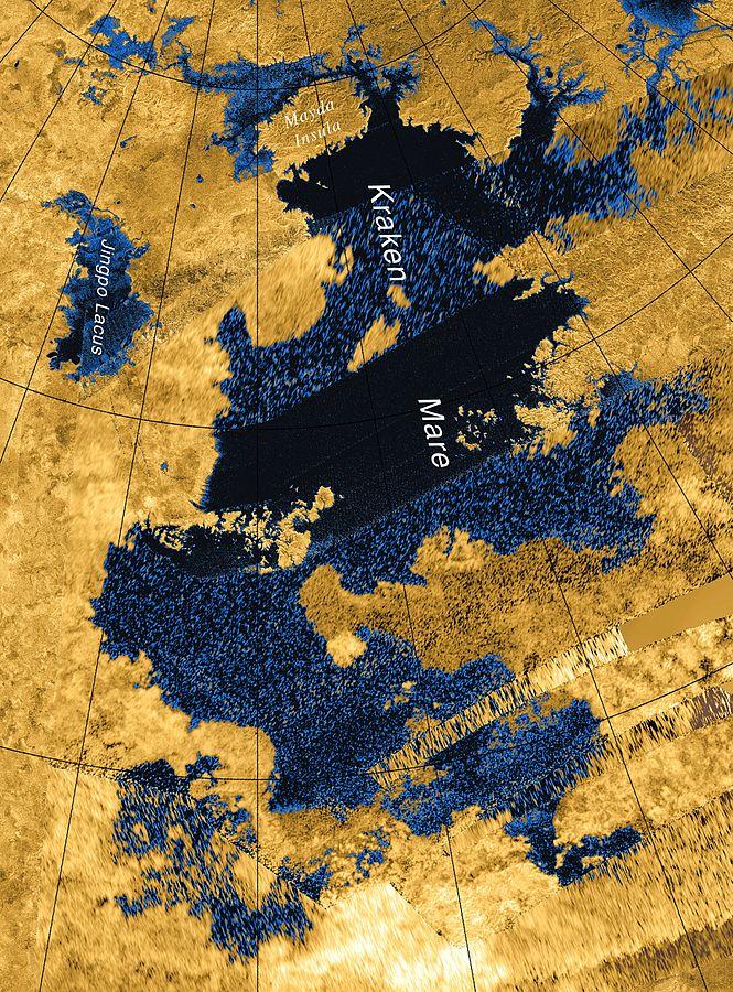 Na Tytanie jest wiele metanowych jezior. Najwięsze, Karken Mare, ma wielkość Jeziora Kaspijskiego.