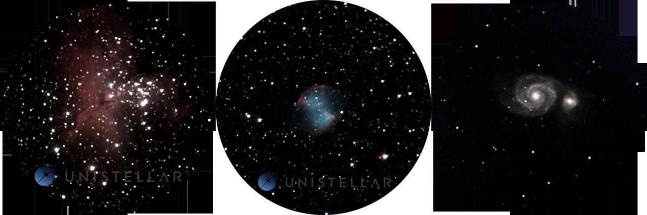 Wyniki obserwacji M27 (Mgławica Hantle), M51 (Galaktyka Wir) orazM16 (Mgławica Orzeł) przy użyciu teleskopu Unistellar wObserwatorium des Baronnies Provençales weFrancji. Taki widok użytkownik może zobaczyć bezpośrednio wokularze, auzyskane zdjęcie przechowywane będzie wwyznaczonej bazie danych winstytucie SETI.