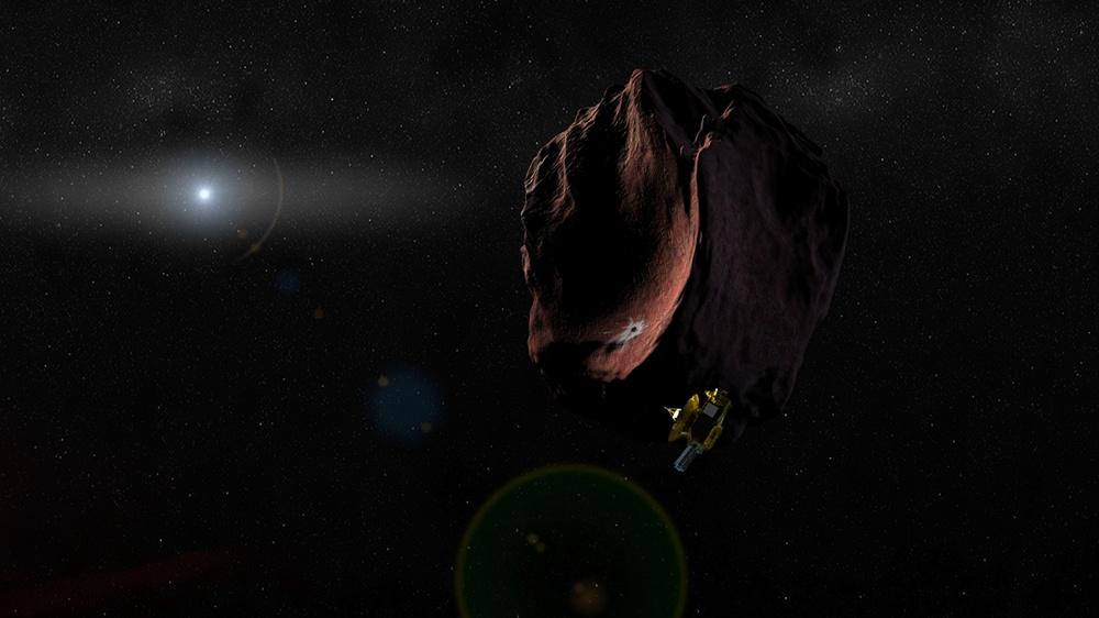 Artystyczna wizja przedstawiająca możliwy wygląd obiektu MU69.