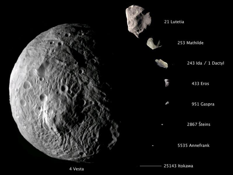Zestawienie zdjęć planetoid obserwowanych z bliska przez sondy kosmiczne do 2011 roku