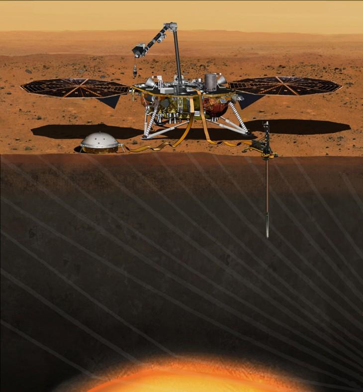 Wizja artystyczna lądownika InSight w pełni gotowego do badania wnętrza Marsa.