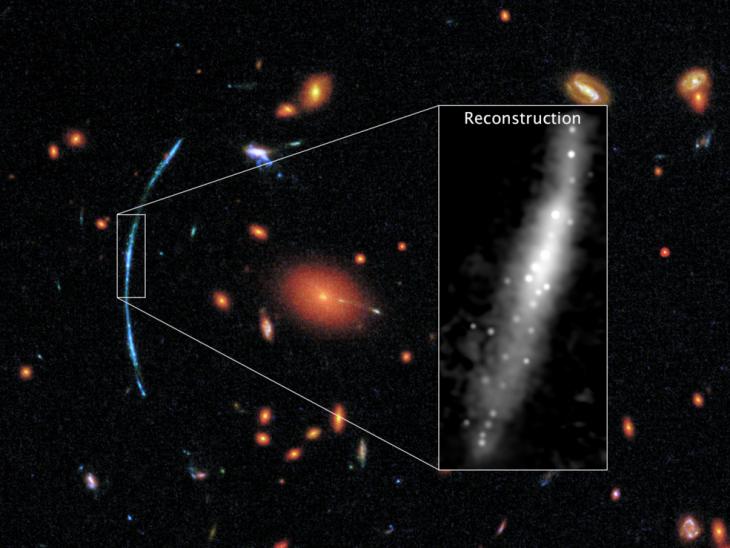 Obraz odległej gromady galaktyk, któryskłada się ztrzech zdjęć wykonanych przezKosmiczny Teleskop Hubble'a.  Niebieski łuk przedstawia galaktykę, którejobraz został zniekształcony przezsoczewkowanie grawitacyjne. Wramce przedstawiono, jak wyglądałaby wrzeczywistości.
