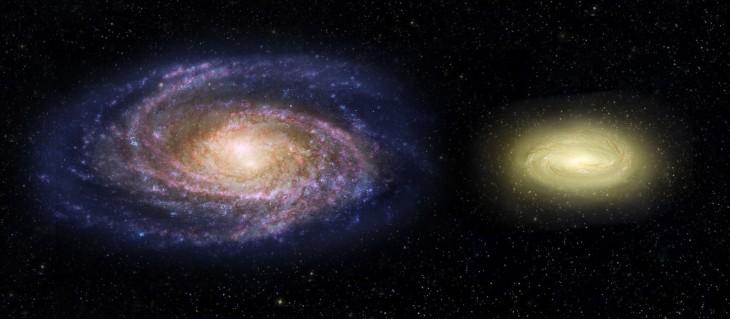 Porównanie Drogi Mlecznej i galaktyki MACS 2129-1 (po prawej).