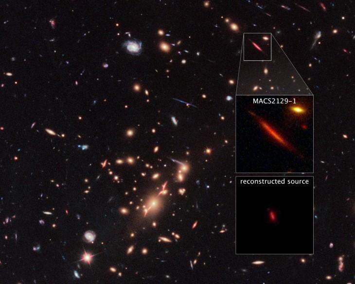 MACS 2129-1 w otoczeniu masywnej gromady galaktyk MACS J2129-0741. W środkowym okienku przybliżenie na obiekt, w dolnym odtworzony obraz galaktyki bez soczewkującej ją gromady .