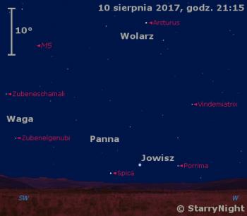Położenie Jowisza w drugim tygodniu sierpnia 2017 r.