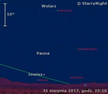 Położenie Jowisza na przełomie sierpnia i września 2017 r.