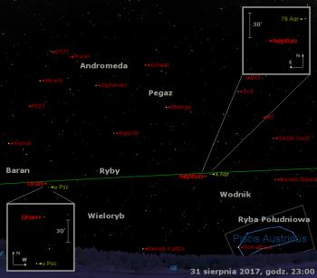 Położenie planet Uran iNeptun orazgwiazdy zmiennej R And naprzełomie sierpnia iwrześnia 2017 r.