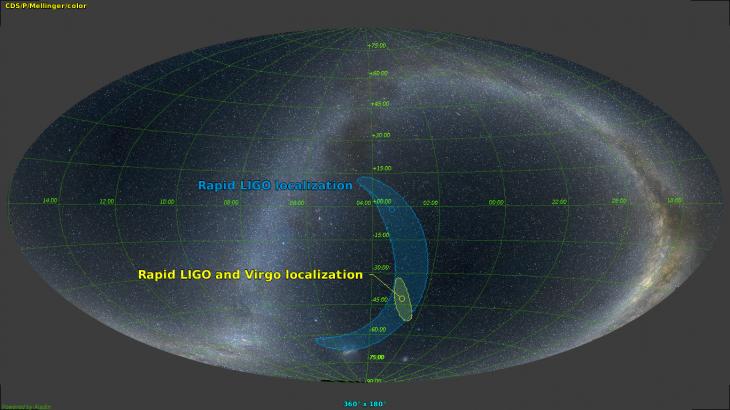 Porównanie precyzji uzyskanej dzięki dwóm (LIGO) oraz trzem detektorom (LIGO + Virgo)
