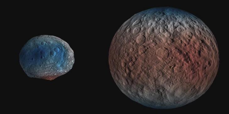 Zdjęcie przestawiająca zawartość wodoru pod powierzchnią Westy i Ceres, stworzone na podstawie danych z detektora GRaND (Gamma Ray and Neutron Detector) - instrumentu znajdującego się na pokładzie sondy Dawn