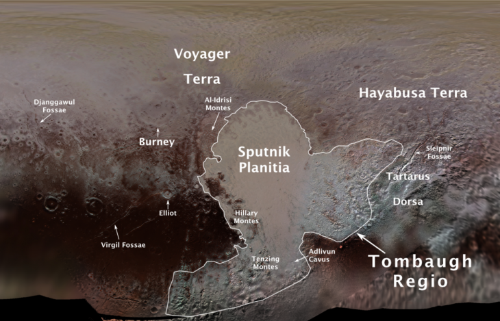 Nowe oficjalne nazwy obszarów na Plutonie na mapie stworzonej na podstawie danych z 2015 roku.