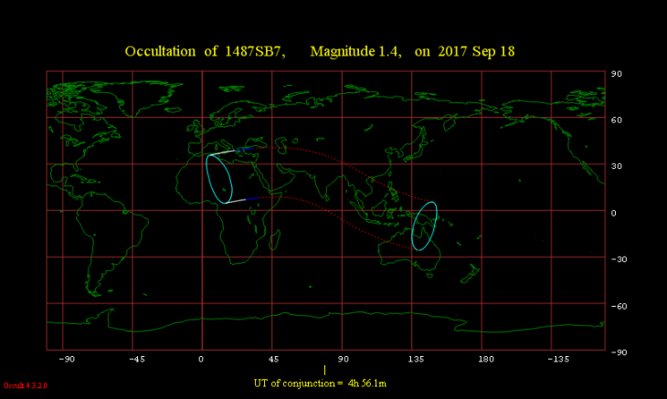 Obszar widoczności zakrycia Regulusa przez Księżyc 18 września 2017 r.