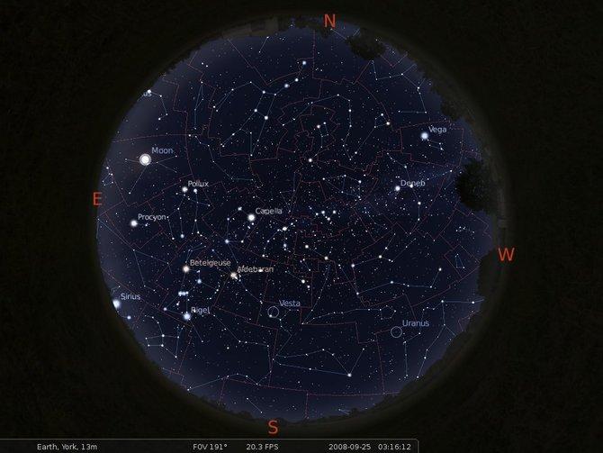 Pełny widok nieba z gwiazdozbiorami, ich granicami, Drogą Mleczną.