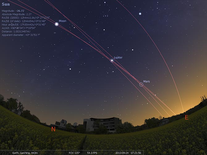 Taniec planet nad siedzibą ESO, niedaleko Monachium.