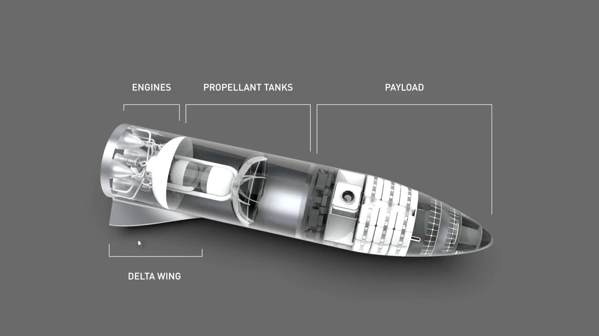 Wewnętrzna konstrukcja statku, najważniejsze elementy zostały wyszczególnione.