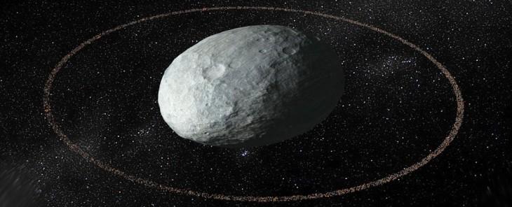 Pierścienie wokół Haumey - wizja artystyczna.