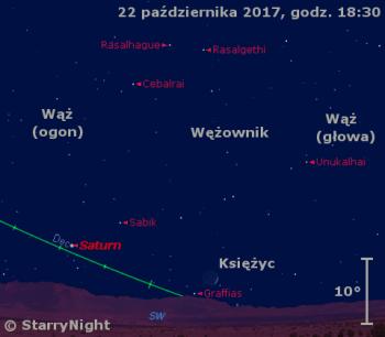 Położenie Księżyca i Saturna 22 października 2017 r.