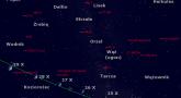 Położenie Księżyca, Saturna oraz mirydy χ Cygni w czwartym tygodniu października 2017 r.