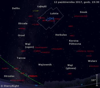 Położenie Saturna, mirydy χ Cygni orazradiantu meteorów Drakonidów wdrugim tygodniu października 2017 r.