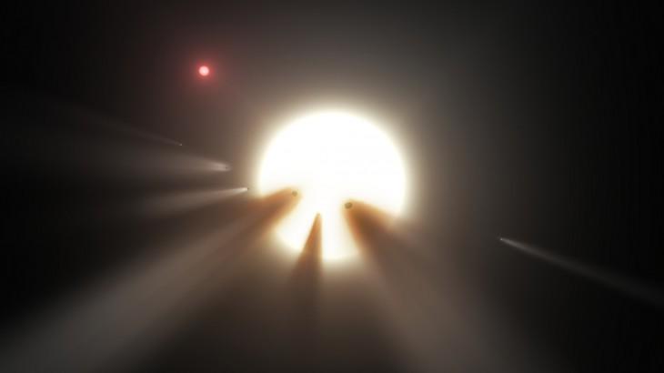 Artystyczna wizja komet przelatujących na tle gwiazdy.