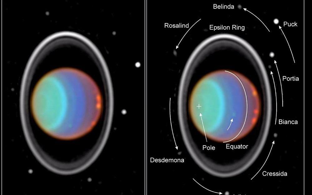 Kosmiczny Teleskop Hubble'a zauważył osiem zksiężyców Urana podczas śledzenia chmur watmosferze lodowego giganta.