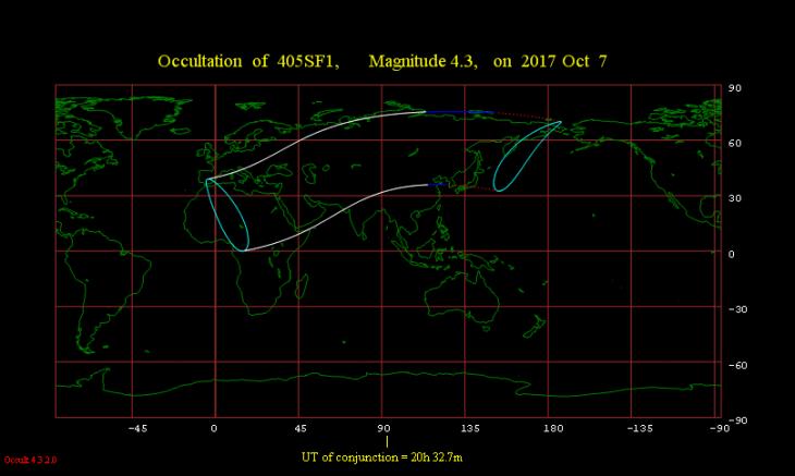 Obszar widoczności zakrycia gwiazdy μ Ceti 7 października 2017 r.