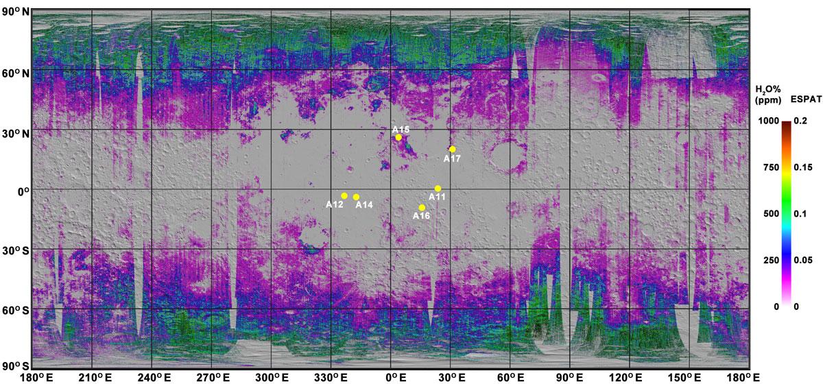 Mapa Księżyca uzyskana dzięki instrumentowi M^3 (Moon Mineralogy Mapper). Żółte kropki to miejsca lądowań misji Apollo.