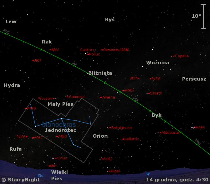 Położenie radiantu Geminidów w połowie grudnia.