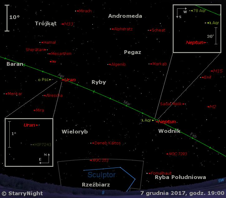 Położenie planet Neptun iUran, planetoidy (7) Iris orazmirydy oCeti wkońcu pierwszej dekady grudnia 2017 r.ptun iUran orazplanetoidy (7) Iris wkońcu pierwszej dekady grudnia 2017 r.