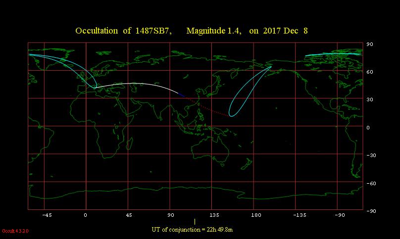 Obszar widoczności zakrycia gwiazdy Regulus przez Księżyc 8 grudnia 2017 r.