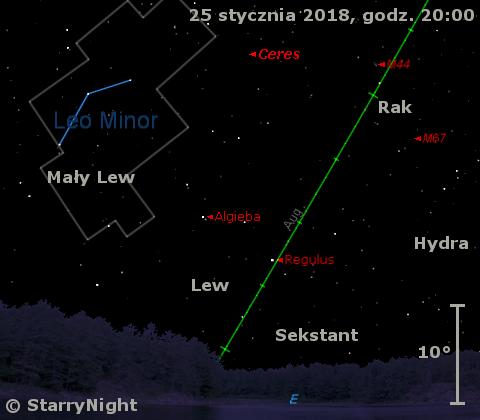 Położenie planety karłowatej (1) Ceres wczwartym tygodniu stycznia 2018 r.