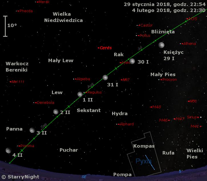 Położenie Księżyca oraz planety karłowatej (1) Ceres na przełomie stycznia i lutego 2018 r.