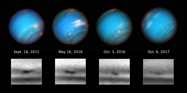 Seria fotografii wykonanych przez Kosmiczny Teleskop Hubble'a pokazuje gasnący cyklon na Neptunie. Owalna plama zmniejszyła się z ok. 5000 km do ok. 3700 km wzdłuż jej dłuższej osi w okresie obserwacji przez Teleskop Hubble'a.
