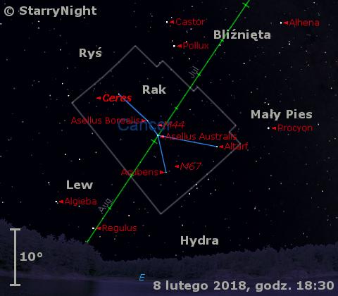 Położenie planety karłowatej (1) Ceres w końcu pierwszej dekady lutego 2018 r
