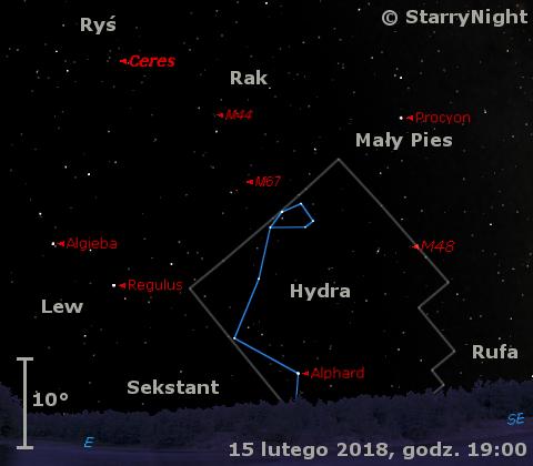 Położenie planety karłowatej (1) Ceres w końcu drugiej dekady lutego 2018 r.