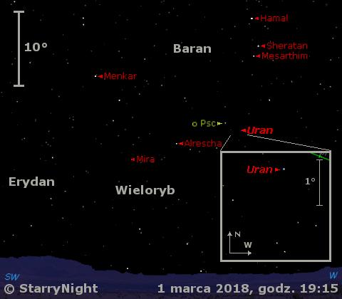 Położenie planety Uran oraz gwiazdy zmiennej Mira Ceti na przełomie lutego i marca 2018 r.
