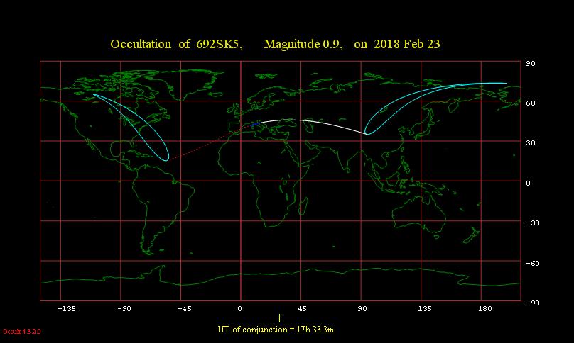 Obszar widoczności zakrycia Aldebarana przez Księżyc 23 lutego 2018 r.