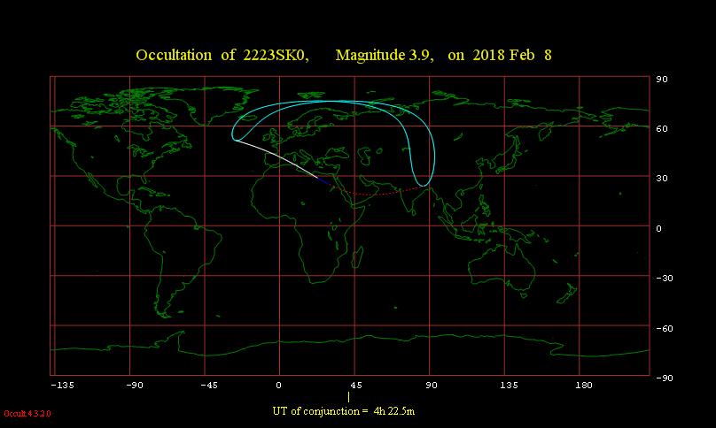 Obszar widoczności zakrycia gwiazdy γ Lib przez Księżyc 8 lutego 2018 r.